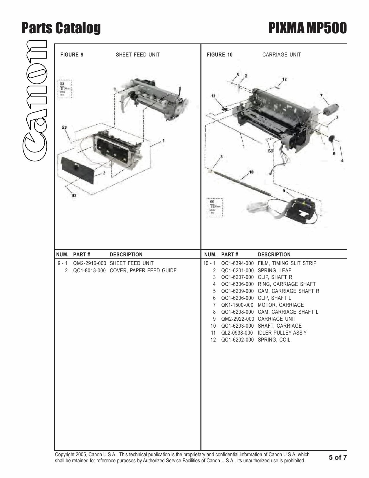 Canon PIXMA MP500 Parts Catalog Manual-6